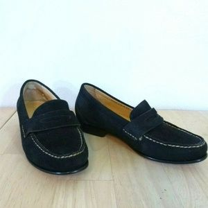Cole Haan Black Suede Penny Loafers 5.5 B